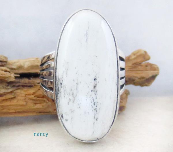 Navajo White Buffalo Stone & Sterling Silver Ring Size 9 - 1305sn