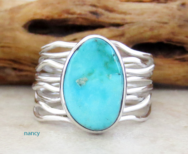 Kingman Turquoise & Sterling Silver Ring Size 7 Murphy Platero - 3758sn