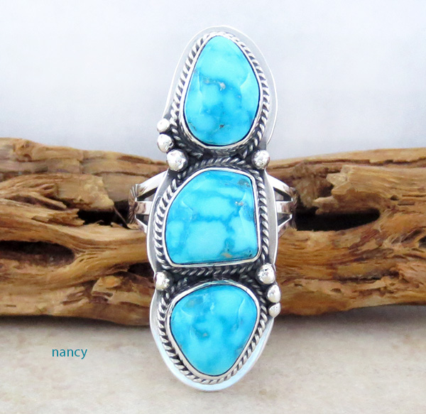 Cloud 9 Turquoise & Sterling Silver Ring Size 7.75 Navajo Made - 1213sn
