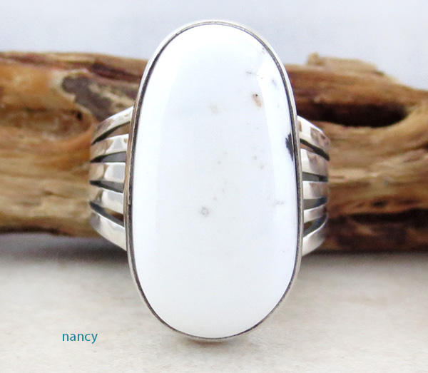 Navajo White Buffalo Stone & Sterling Silver Ring Size 9 - 1216sn