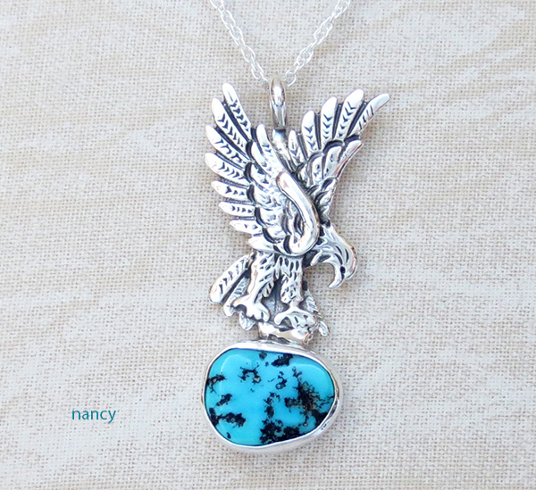 Image 0 of     Sterling Silver Eagle and Turquoise Pendant Navajo Made - 1308rb