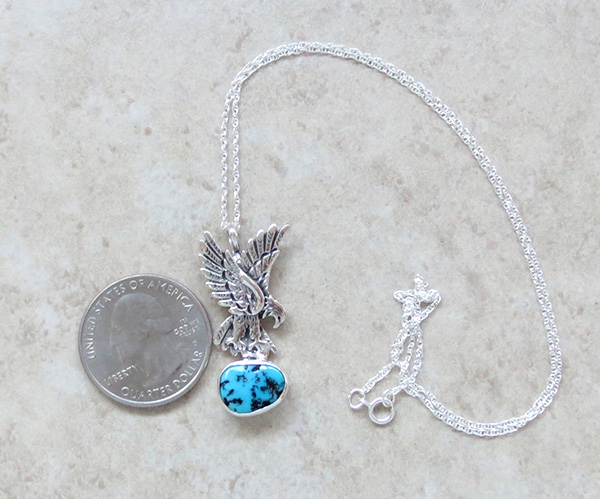Image 1 of     Sterling Silver Eagle and Turquoise Pendant Navajo Made - 1308rb