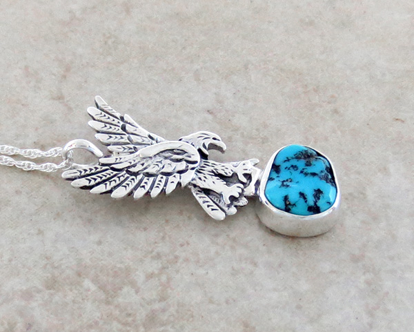 Image 2 of     Sterling Silver Eagle and Turquoise Pendant Navajo Made - 1308rb