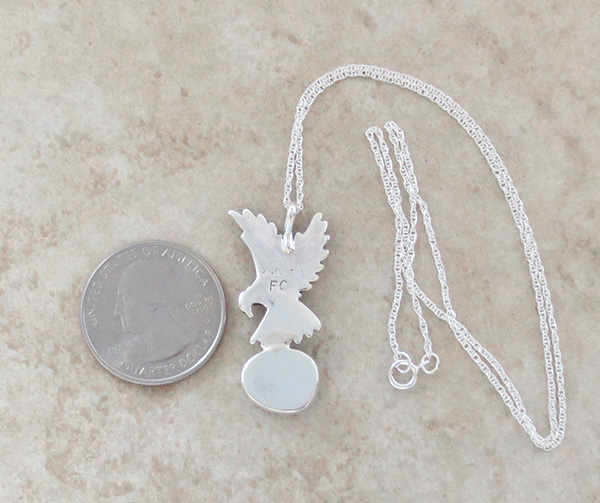 Image 3 of     Sterling Silver Eagle and Turquoise Pendant Navajo Made - 1308rb