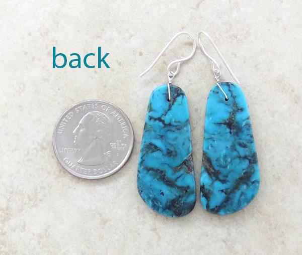 Image 2 of     Blue & Dark Gray Turquoise Slab Earrings  Native American Kewa - 1309rio