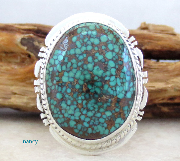 Easter Blue Turquoise & Sterling Silver Ring Size 7.5 Navajo - 1408sn