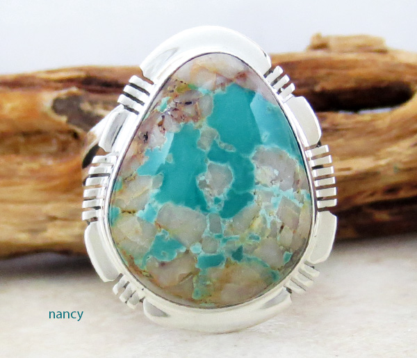Large Boulder Turquoise & Sterling Silver Ring Size 9 Native American - 3875sn