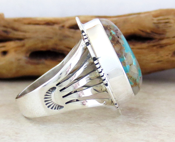 Image 1 of   Large Boulder Turquoise & Sterling Silver Ring Size 9 Native American - 3875sn