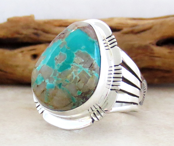 Image 2 of   Large Boulder Turquoise & Sterling Silver Ring Size 9 Native American - 3875sn