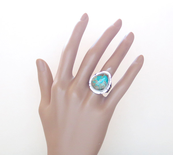 Image 5 of   Large Boulder Turquoise & Sterling Silver Ring Size 9 Native American - 3875sn