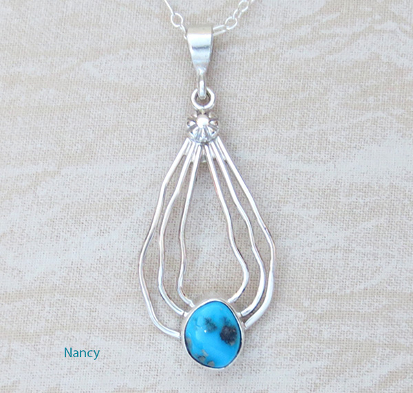Sleeping Beauty Turquoise & Sterling Silver Curvy Wire Pendant - 1413sn