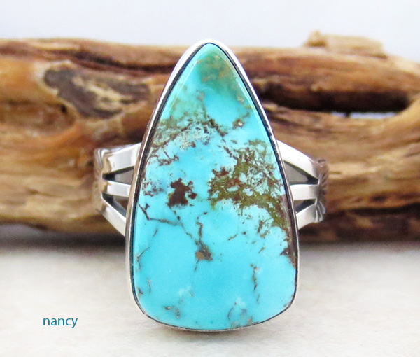 Navajo Made Turquoise & Sterling Silver Ring Size 7.75 - 1215sn