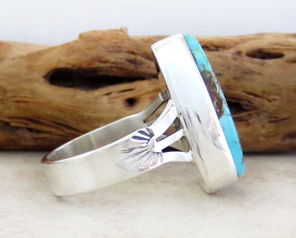 Image 1 of     Navajo Jewelry Turquoise & Sterling Silver Ring Size 7.75 - 1215sn