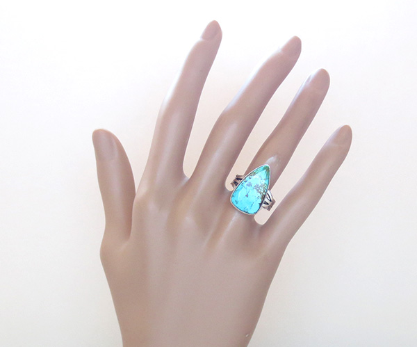 Image 5 of     Navajo Jewelry Turquoise & Sterling Silver Ring Size 7.75 - 1215sn