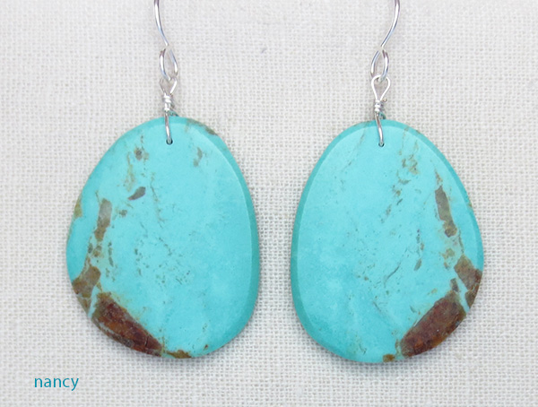 Turquoise Slab Earrings Kewa Ronald Chavez - 3481pl