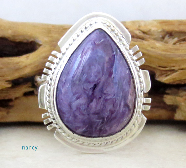 Image 0 of Charoite & Sterling Silver Ring Sz 9 Native American Jewelry - 3480sn