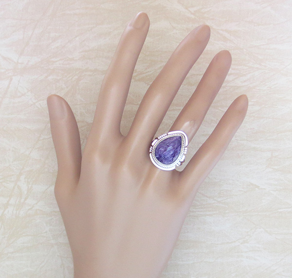 Image 1 of Charoite & Sterling Silver Ring Sz 9 Native American Jewelry - 3480sn