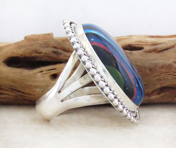 Image 1 of      Large Rainbow Calsilica & Sterling Silver Ring Size 7 - 1014rb