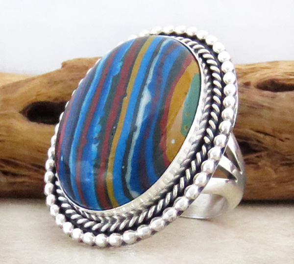 Image 2 of      Large Rainbow Calsilica & Sterling Silver Ring Size 7 - 1014rb