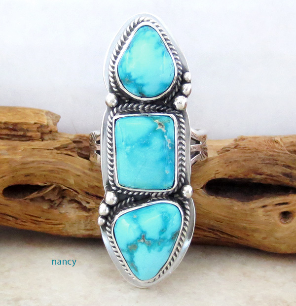 Turquoise & Sterling Silver Ring Size 7.25 Navajo Made - 1013sn