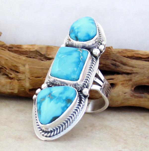 Image 2 of Turquoise & Sterling Silver Ring Size 7.25 Navajo Made - 1013sn