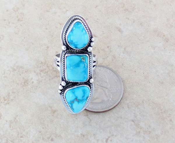 Image 3 of Turquoise & Sterling Silver Ring Size 7.25 Navajo Made - 1013sn