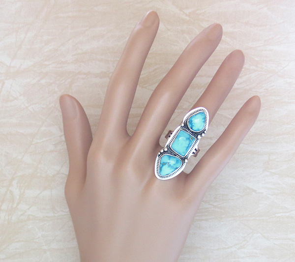 Image 5 of Turquoise & Sterling Silver Ring Size 7.25 Navajo Made - 1013sn