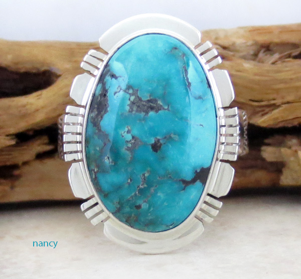 Turquoise & Sterling Silver Ring Size 9 San Felipe Made - 1224sn