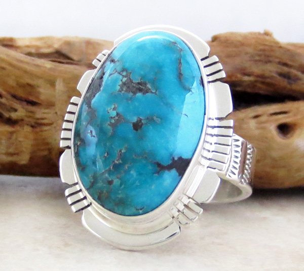 Image 2 of       Turquoise & Sterling Silver Ring Size 9 San Felipe Made - 1224sn