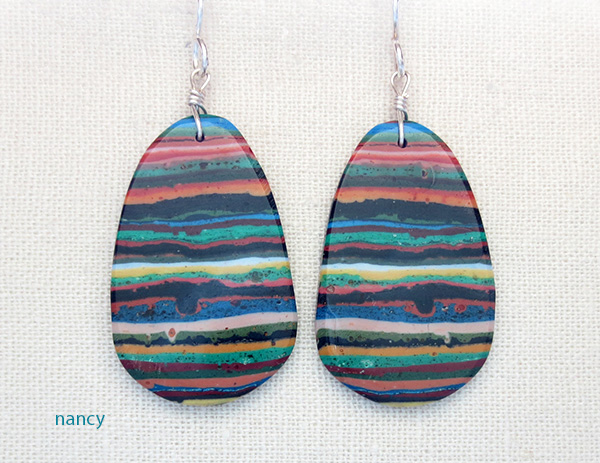 Rainbow Calsilica Slab Earrings Kewa Made - 1015pl
