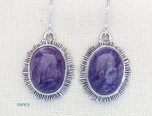 Navajo Made Charoite & Sterling Silver Earrings Lyle Piaso - 1318sn
