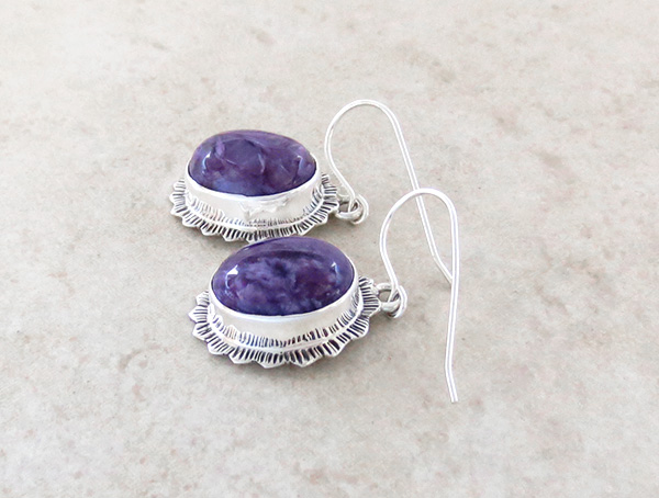 Image 1 of  Navajo Made Charoite & Sterling Silver Earrings Lyle Piaso - 1318sn