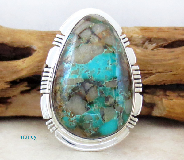Image 1 of  Large Boulder Turquoise & Sterling Silver Ring Size 8 Jewelry- 1347sn