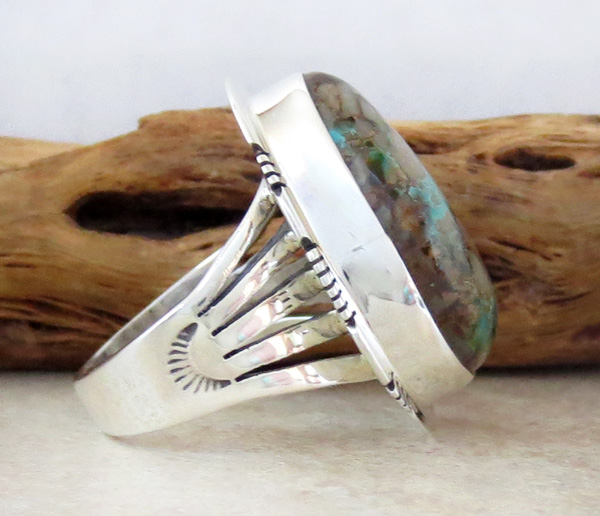 Image 2 of  Large Boulder Turquoise & Sterling Silver Ring Size 8 Jewelry- 1347sn