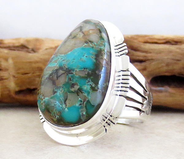 Image 3 of  Large Boulder Turquoise & Sterling Silver Ring Size 8 Jewelry- 1347sn
