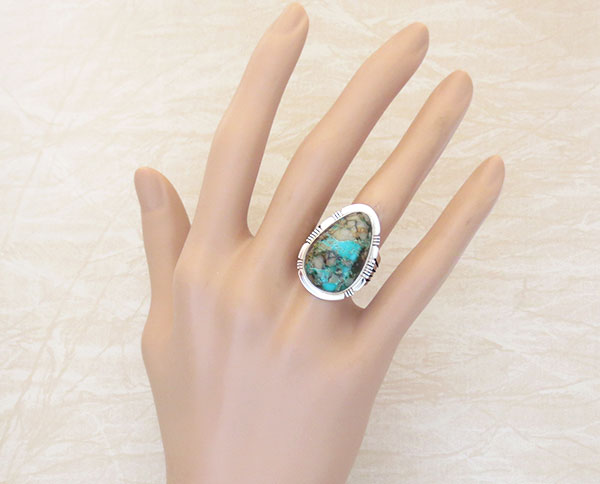 Large Boulder Turquoise & Sterling Silver Ring Size 8 P Sanchez - 1347sn