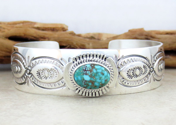 Image 0 of    Turquoise & Sterling Silver Bracelet Native American Jewelry - 1019sn