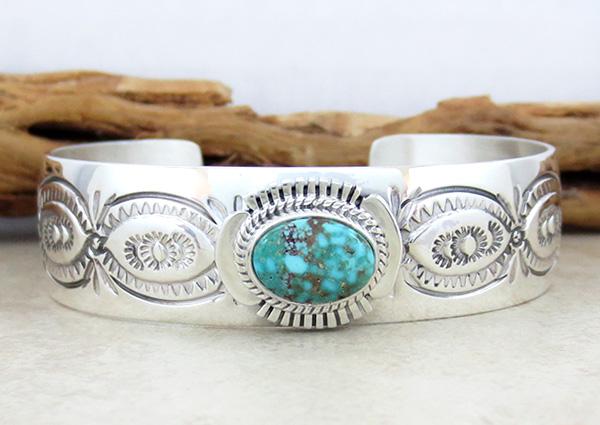 Turquoise & Sterling Silver Bracelet John Nelson Navajo - 1019sn