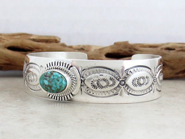 Image 3 of    Turquoise & Sterling Silver Bracelet Native American Jewelry - 1019sn