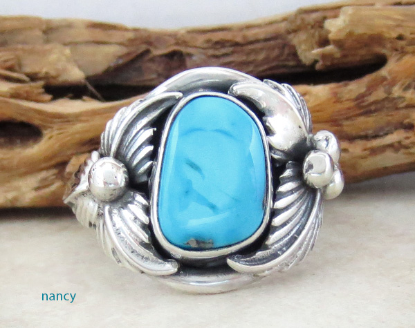 Classic Turquoise & Sterling Silver Ring Size 11.25 Navajo Jewelry- 1018sn