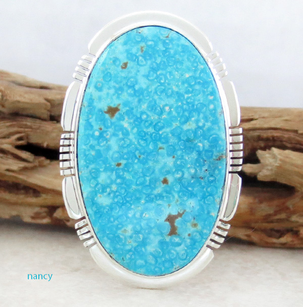 Big Native American Made Turquoise & Sterling Silver Ring Size 10 - 0814sn