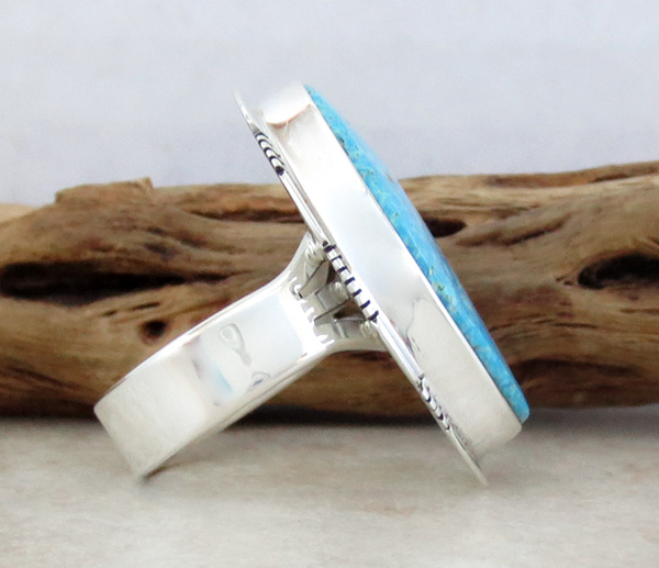 Image 1 of      Native American JewelryTurquoise & Sterling Silver Ring Size 10 - 0814sn