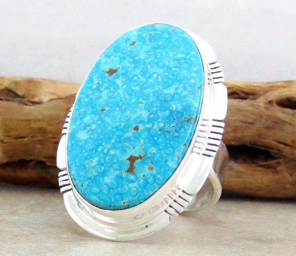 Image 2 of      Big Native American Made Turquoise & Sterling Silver Ring Size 10 - 0814sn