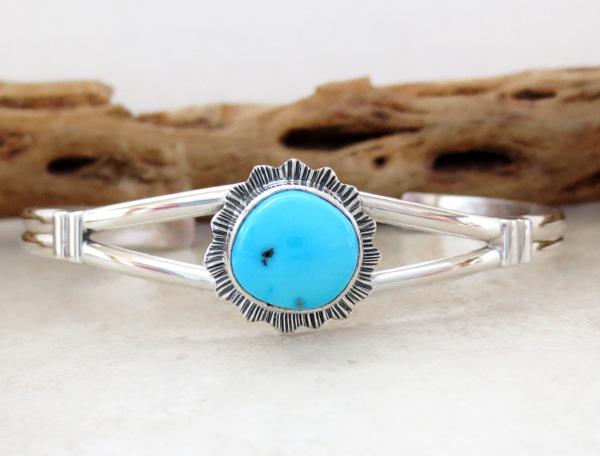 Sleeping Beauty Turquoise & Sterling Silver Bracelet Navajo - 1416sn