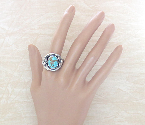 Image 4 of     Turquoise & Sterling Silver Ring Sz 12 Native American Jewelry- 1319sn