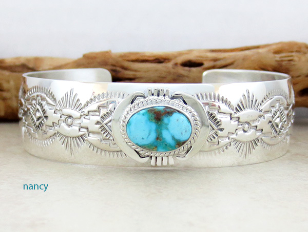 Turquoise & Sterling Silver Bracelet John Nelson Navajo - 1227sn