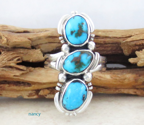 Candelaria Turquoise & Sterling Silver Ring Size 6.75 - 1226sn