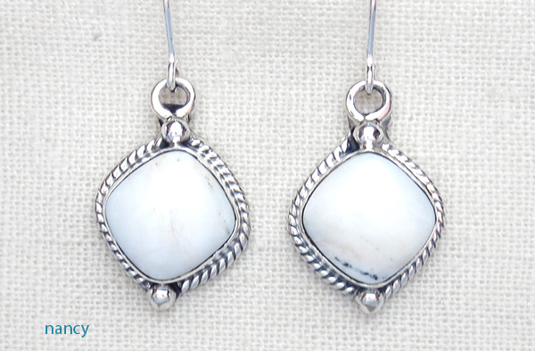 Image 0 of     Navajo Made White Buffalo Stone & Sterling Silver Earrings - 1418sn