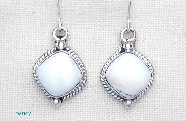 Navajo Made White Buffalo Stone & Sterling Silver Earrings - 1418sn