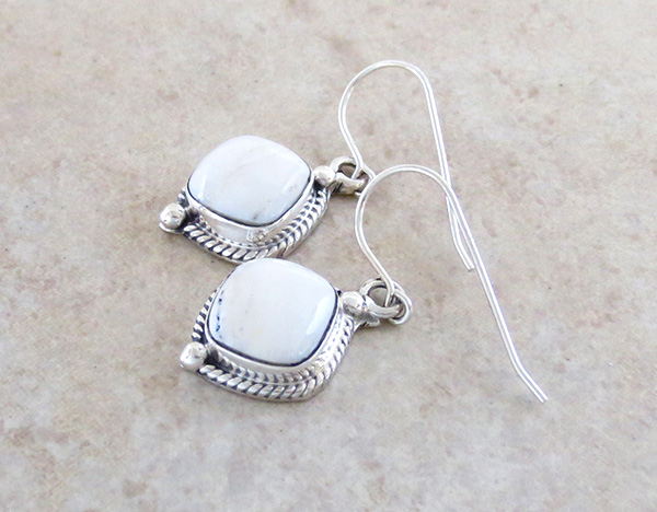 Image 1 of     Navajo Made White Buffalo Stone & Sterling Silver Earrings - 1418sn